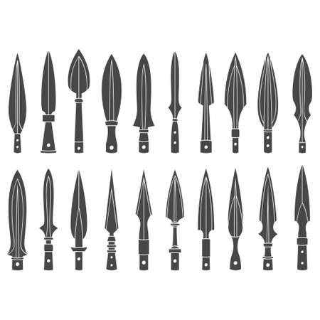 vector monochrome icon set with ancient spearhead for your project
