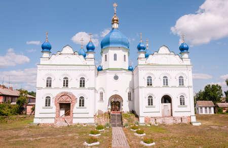 Ladan, Chernihiv, Ukraine - 08/14/2021: Building of the Orthodox Church on a sunny day