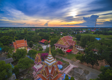 public domain: Wat thai, sunset in temple Thailand,They are public domain or treasure of Buddhism, no restrict in copy or use Stock Photo