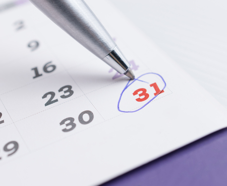 calendar page with selected 31 of december,2016 marking with a ball point pen