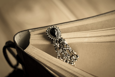 vintage Jewelry put on the book for Jewelry background design Stock Photo
