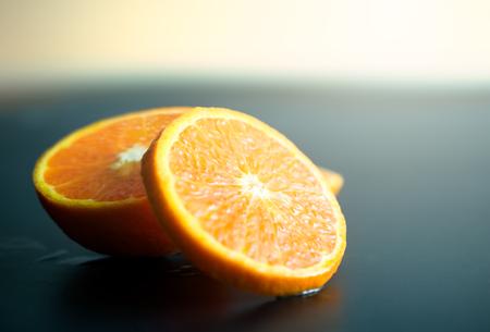 Still life Orange slice fruit on dark background. mandarins slice Stock Photo