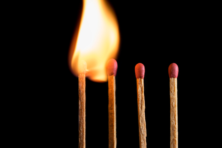 burned out: match standing out from leadership concept, Individuality concept. Stock Photo