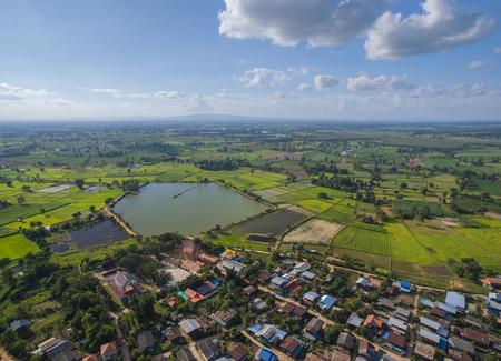 aerial landscape country village thailand
