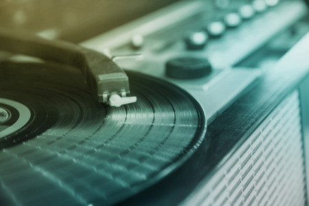 blur record player music background Stock Photo