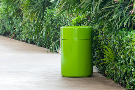 bin on walkway in Department store Stock Photo
