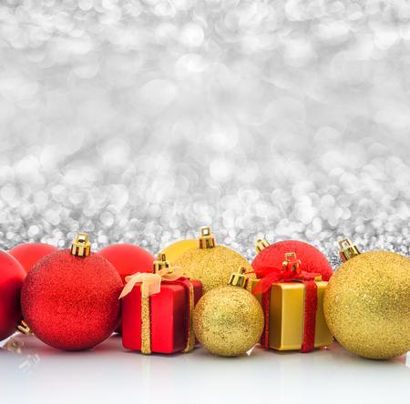 christmas ball and christmas gift background Stock Photo