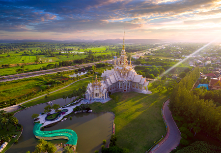 Aerial view Wat None Kum in Nakhon Ratchasima province Thailand. Stock Photo