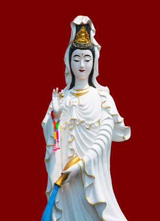 The marble Guan Yin on red Color in Chinese background