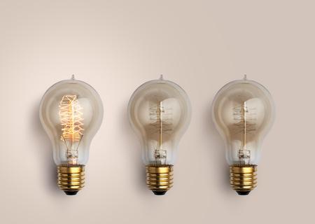 pastel Light bulbs on pastel background, light bulb creative ideas background concept. Stock Photo