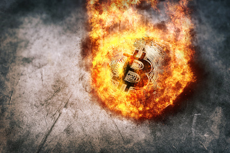 Burning golden bitcoin coin Crypto Currency background concept. Stock Photo - 87539656