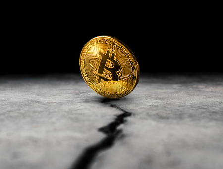 close up golden bitcoin coin crypto Currency background concept. Stock Photo