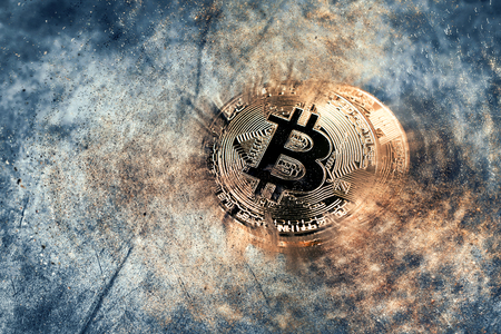 abstract golden bitcoin coin Crypto Currency background concept. Фото со стока