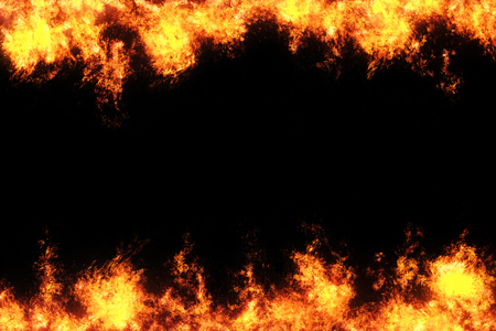 abstract overlay Fire flames on a black background.
