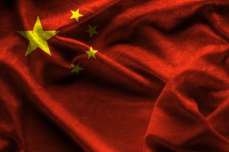 textile image: waving fabric flag of China Background and texture.