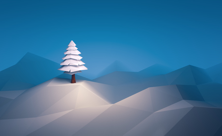 3D illustratie winter boom laag poly kerst scène achtergrond. Stockfoto