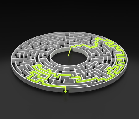 3d rendering circular maze with solution. Stock Photo
