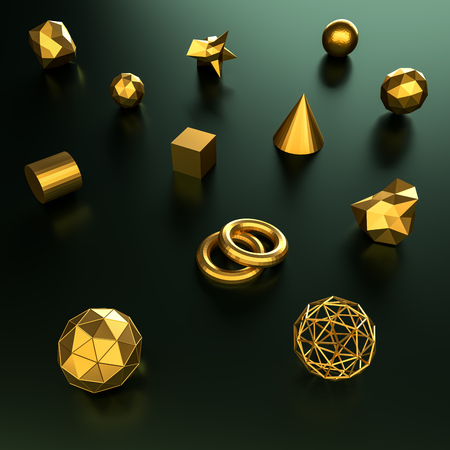 3d rendering geometry gold color background and texture. Stock Photo