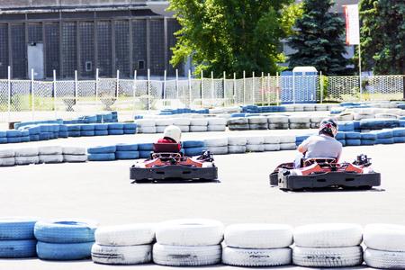 Karting club members Stock Photo