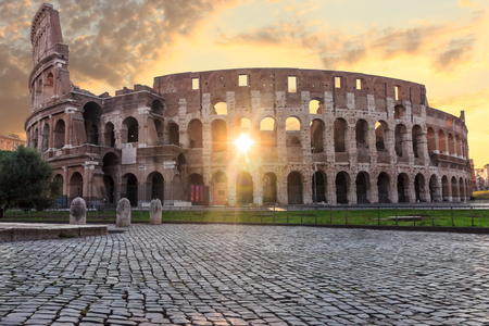 The Colosseum at sunrise in Rome