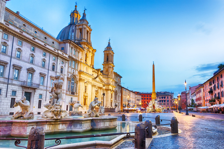 Fountain and Sant'Agnese in Piazza Navona, Rome