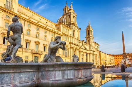 Fontana del Moro by Giacomo della Porta, Piazza Navona in Rome, Italy Stock Photo