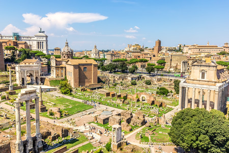 Roman Forum: ruins of the Temple of Caesar, the Temple of Antoninus and Faustina, the Temple of Vesta, the Temple of Castor and Pollux,