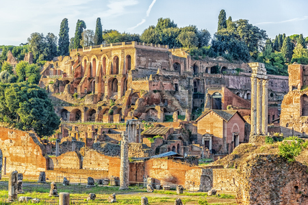 Tiberius palace in the Roman Forum, Italy