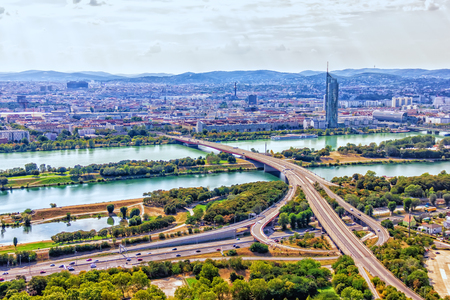 Vienna skyline, panoramic view on the Danube and the roads
