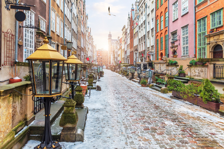 Old European Street Mariacka in Gdansk, Poland, morning view, no people.
