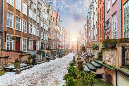 Mariacka street, a famous street in Gdansk in Poland, sunrise view.