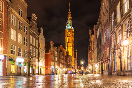 Long Market, the main street of Gdansk, evening illuminated view, no people. Zdjęcie Seryjne