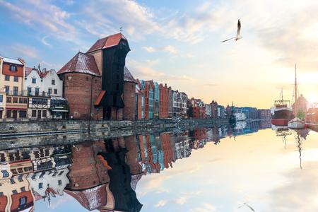 Zuraw Port Crane in Gdansk in Poland, sunny view.