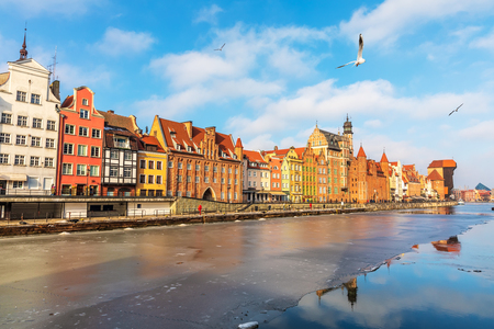 Colorful buildings of Gdansk on the bank of the Motlawa, Poland.