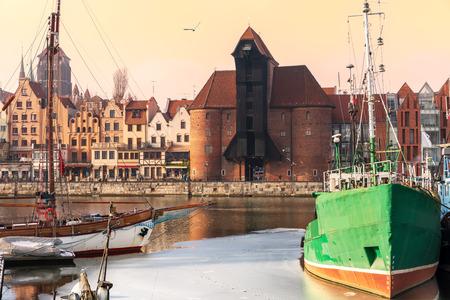 Pier in Gdansk and view on Zuraw Port Crane