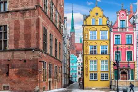 Old street Kramarska, a famous european street of Gdansk near the Long Market Stock Photo