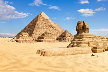 De piramides van Gizeh en de Sfinx, Egypte. Stockfoto