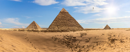 The Pyramids of Egypt in the desert, panorama Stock Photo