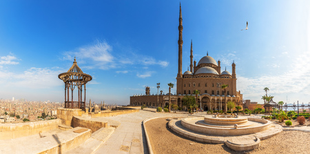 Mosque of Muhammad Ali in the Citadel of Cairo, Egypt, panoramic view.