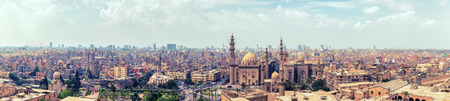 Panorama of the Cairo Citadel and the city skyline, aerial view.