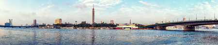 View on Cairo tower from the Nile, morning panorama.