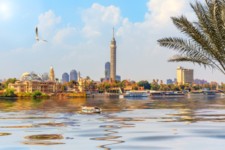 View on the Cairo Tower in Gezira island in the Nile, Egypt.