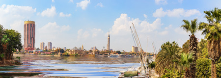 View on Cairo downtown with the Tower and fashionable hotels in the harbour of the Nile,  Egypt.