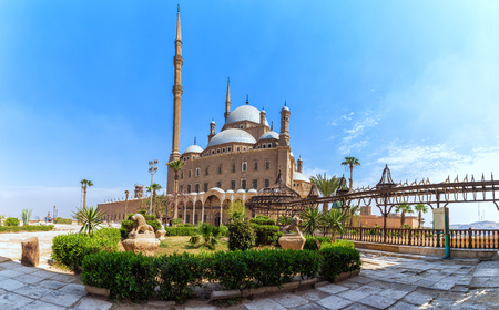 View on the Great Mosque of Muhammad Ali Pasha in Cairo Citadel, Egypt Фото со стока - 124958922