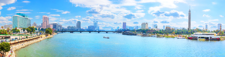 Beautiful Cairo panorama, view on the bridge over the Nile and the Cairo TV Tower
