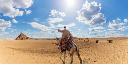 A bedouin on a camel in the desert near the Pyramids of Giza, Egypt