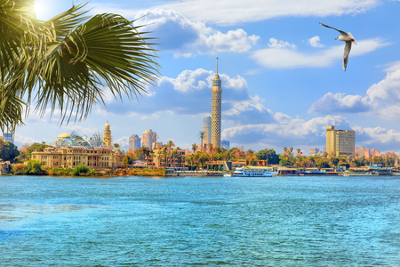 The Cairo tower, beautiful view from the Nile river, Egypt