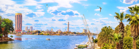Panoramic view on the Nile and the Cairo Tower from the harbour