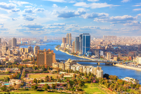 Beautiful view of Cairo and the Nile from above, Egypt Banco de Imagens