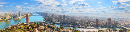 Cairo downtown nearby Nile river, aerial panorama shot Standard-Bild